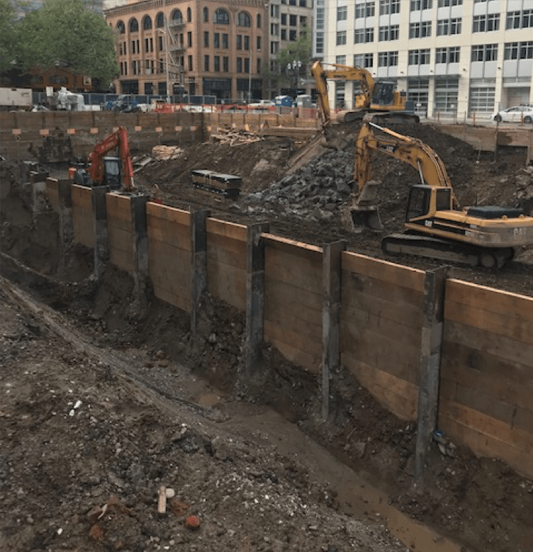 Shoring System with Tiebacks